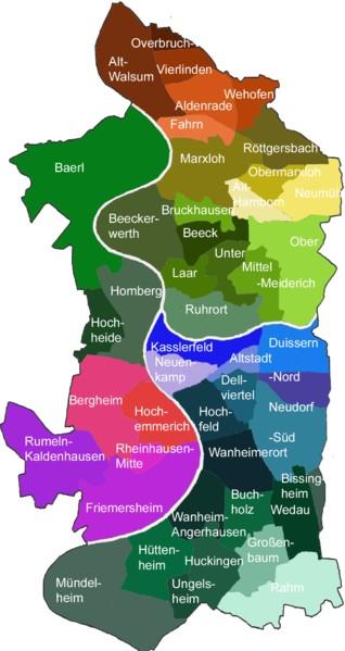 duisburg karte Stadtteile Duisburg Karte | Deutschland Karte